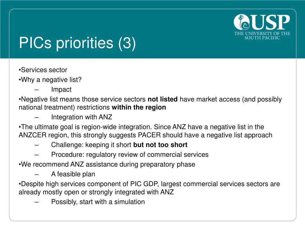 PICs priorities (3)