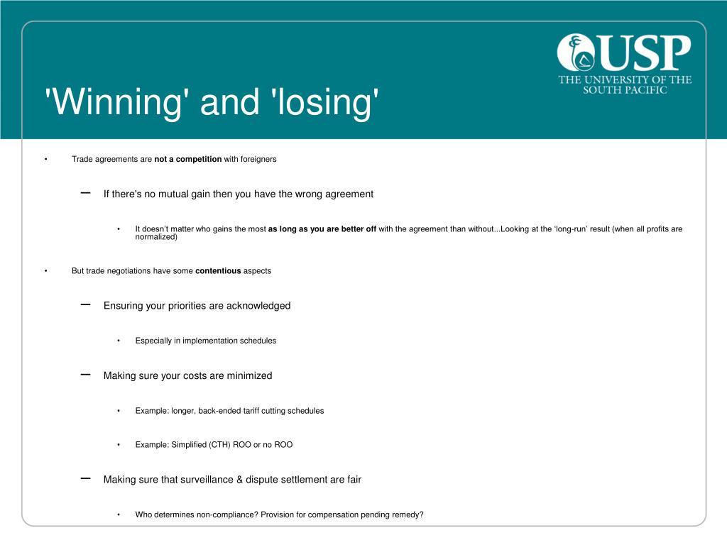 'Winning' and 'losing'