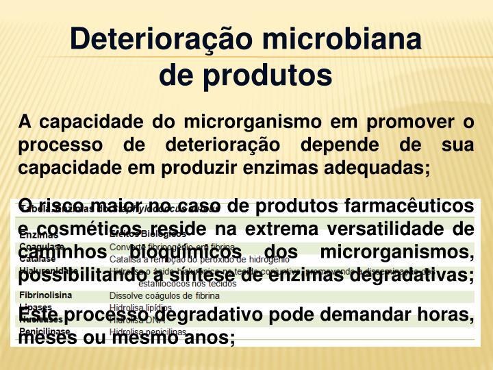 Deterioração microbiana de produtos