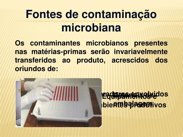 Fontes de contaminação microbiana