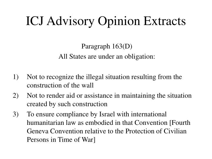 Icj advisory opinion extracts