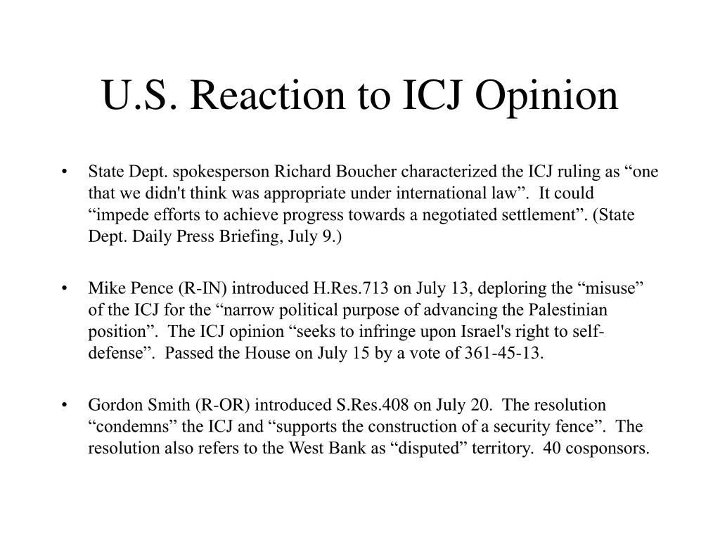 U.S. Reaction to ICJ Opinion