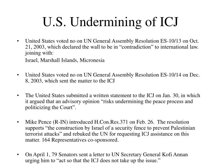 U s undermining of icj