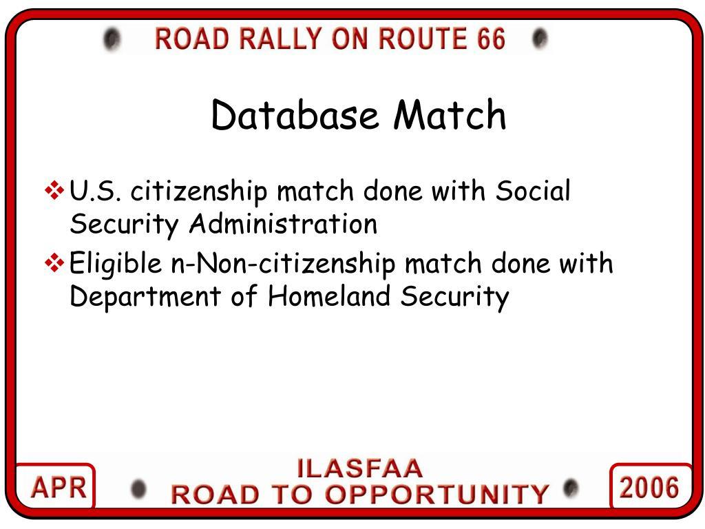 Database Match