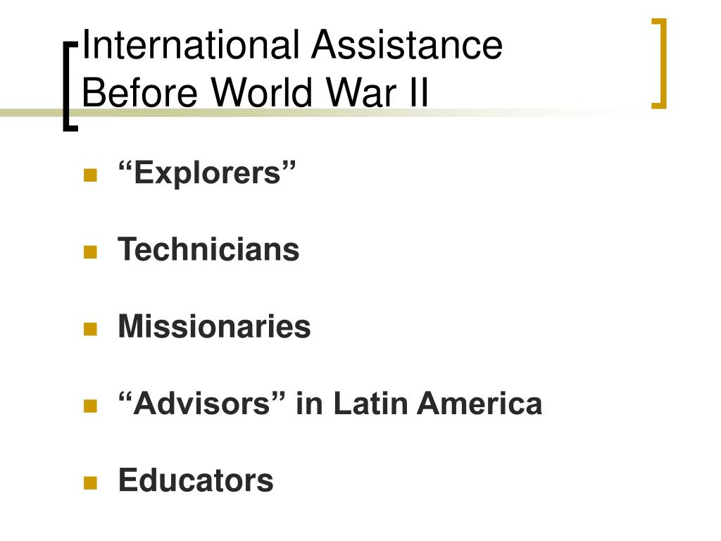 International Assistance Before World War II
