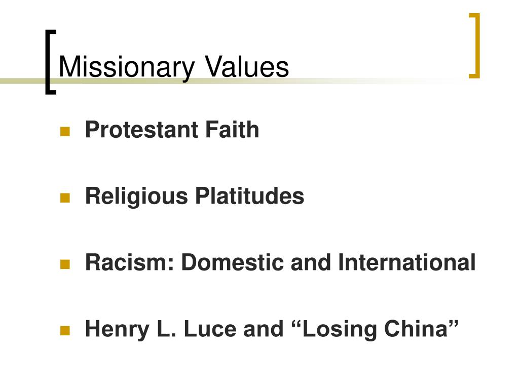 Missionary Values