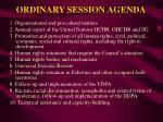 ordinary session agenda