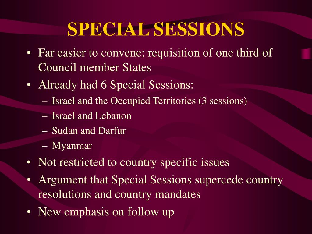 SPECIAL SESSIONS