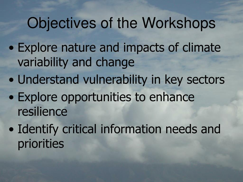 Objectives of the Workshops