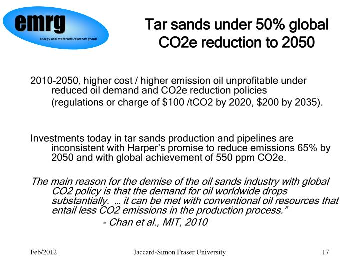 Tar sands under 50% global CO2e reduction to 2050