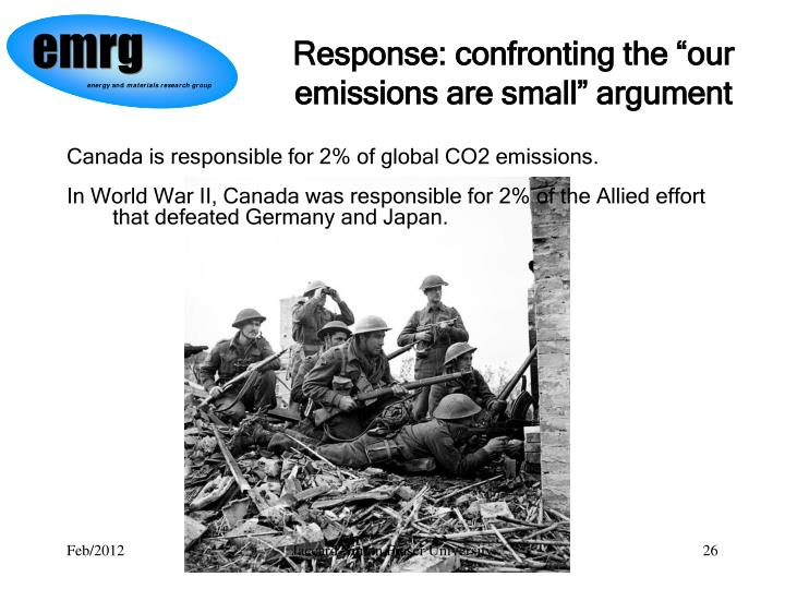 "Response: confronting the ""our emissions are small"" argument"