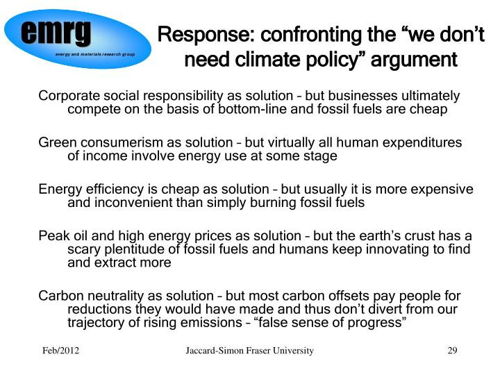 "Response: confronting the ""we don't need climate policy"" argument"