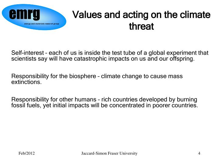Values and acting on the climate threat