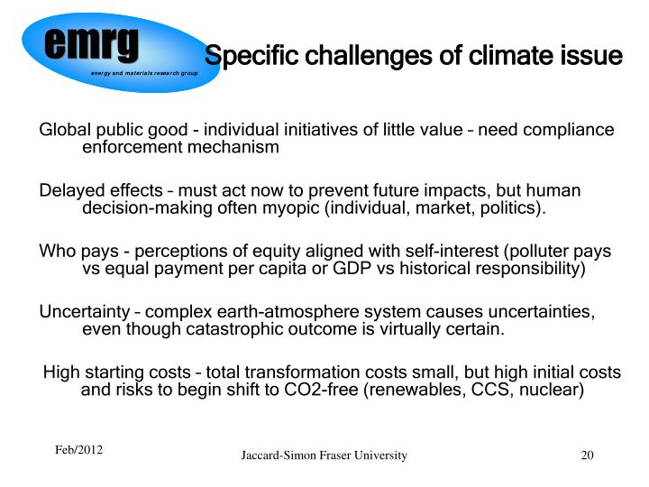 Specific challenges of climate issue