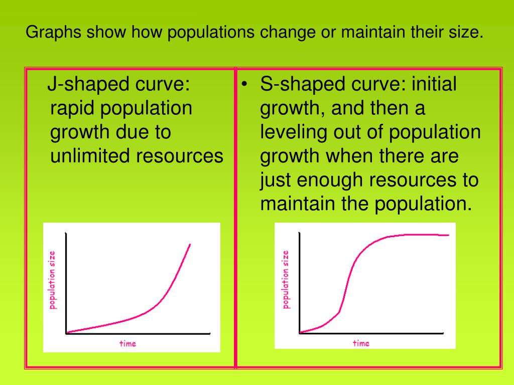 J-shaped curve: rapid population growth due to unlimited resources