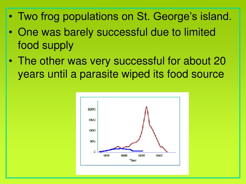 Two frog populations on St. George's island.