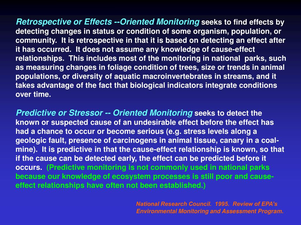 Retrospective or Effects --Oriented Monitoring