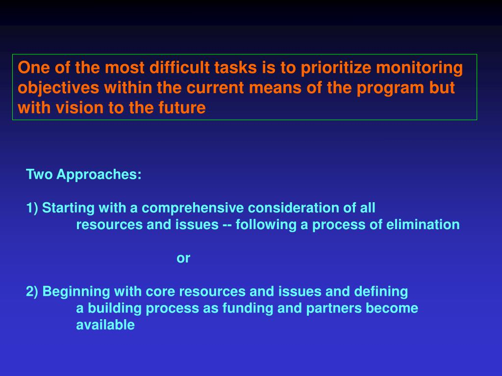One of the most difficult tasks is to prioritize monitoring objectives within the current means of the program but with vision to the future