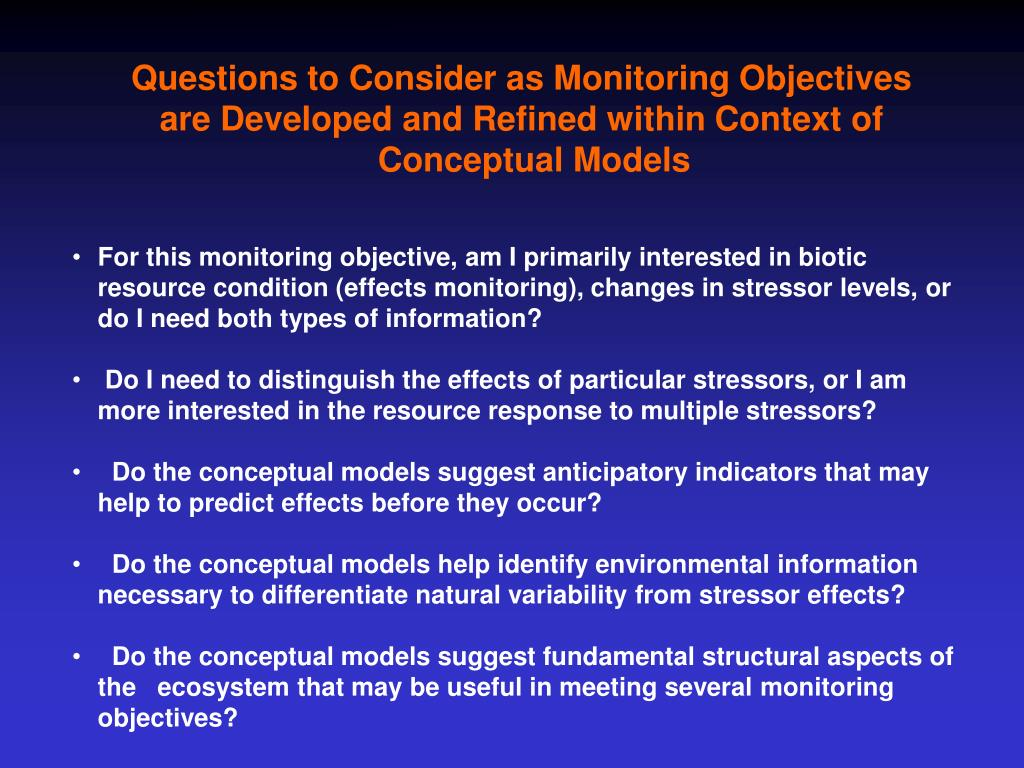 Questions to Consider as Monitoring Objectives