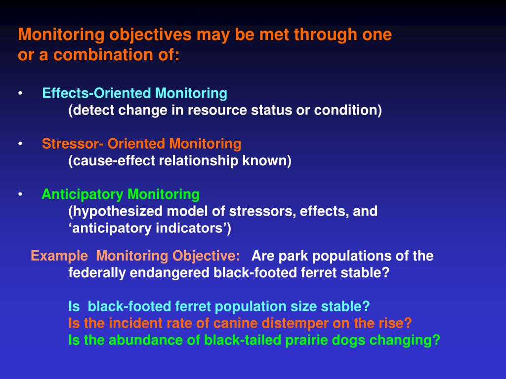 Monitoring objectives may be met through one