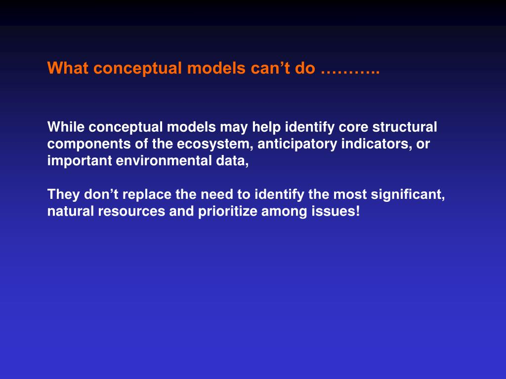 What conceptual models can't do ………..