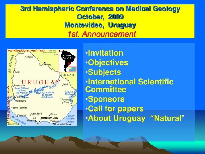 3rd hemispheric conference on medical geology october 2009 montevideo uruguay 1st announcement l.jpg
