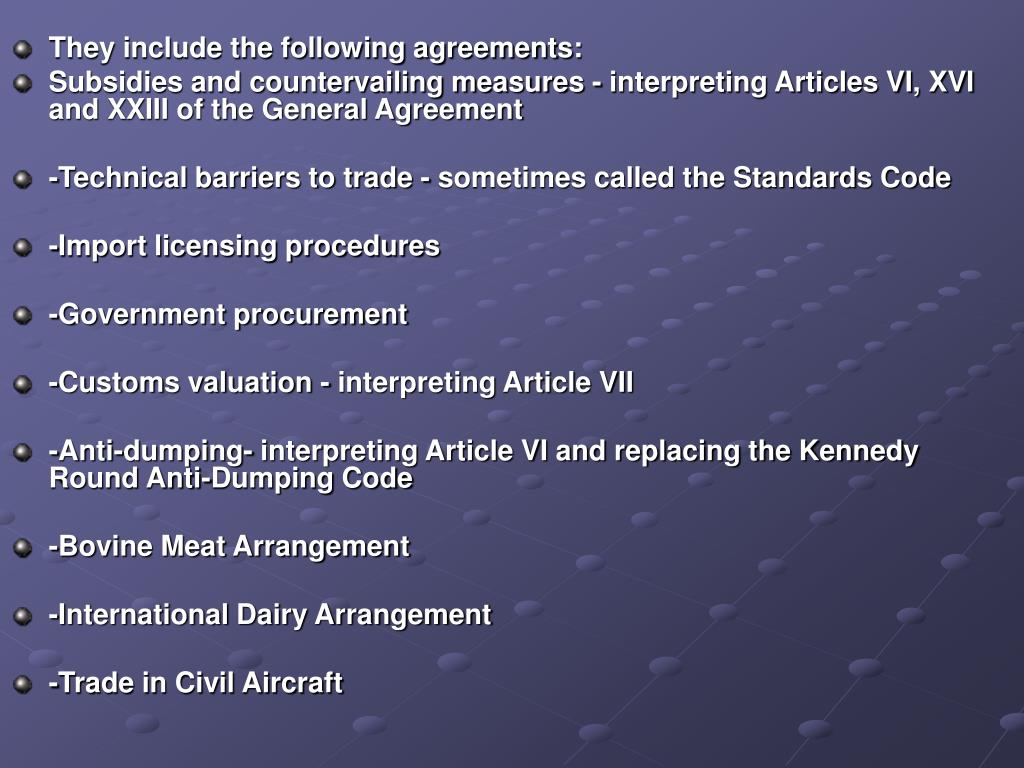They include the following agreements: