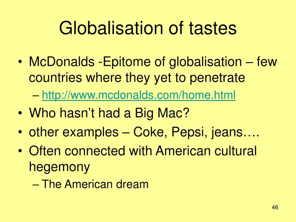 Globalisation of tastes