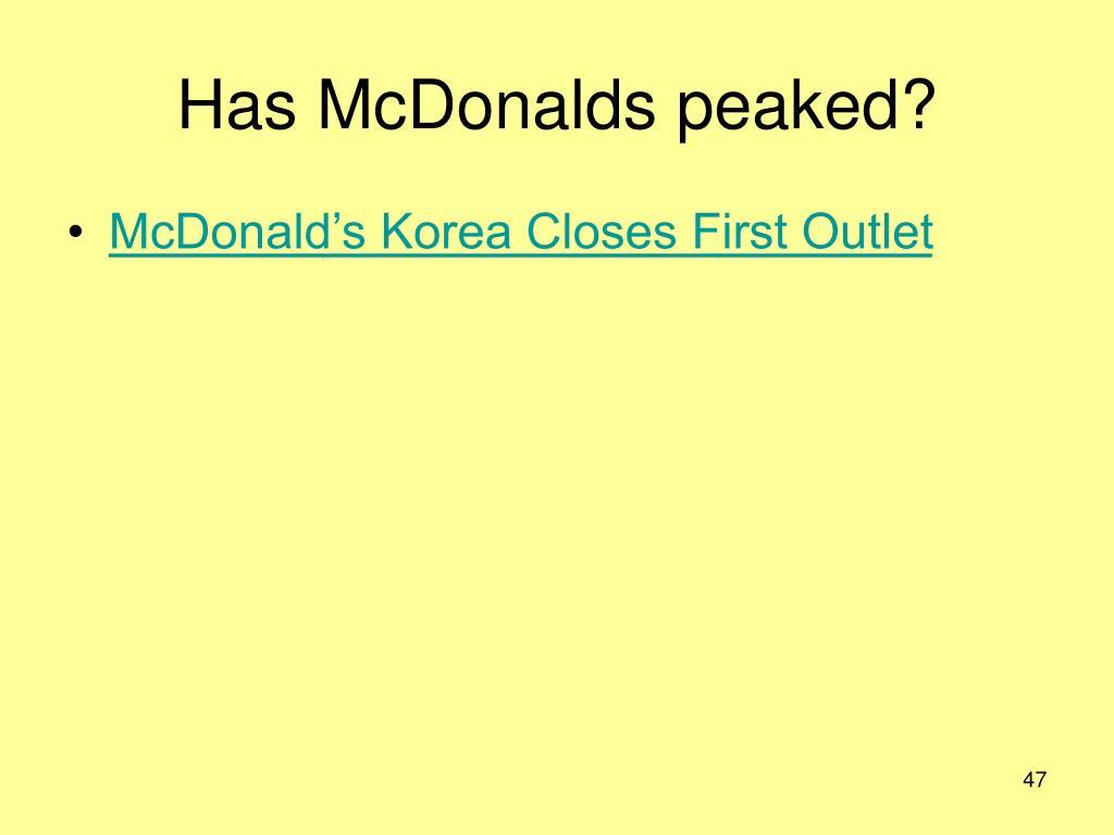 Has McDonalds peaked?