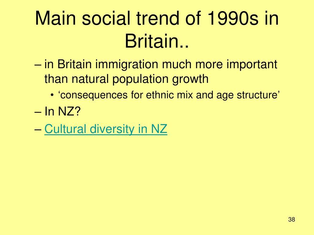 Main social trend of 1990s in Britain..