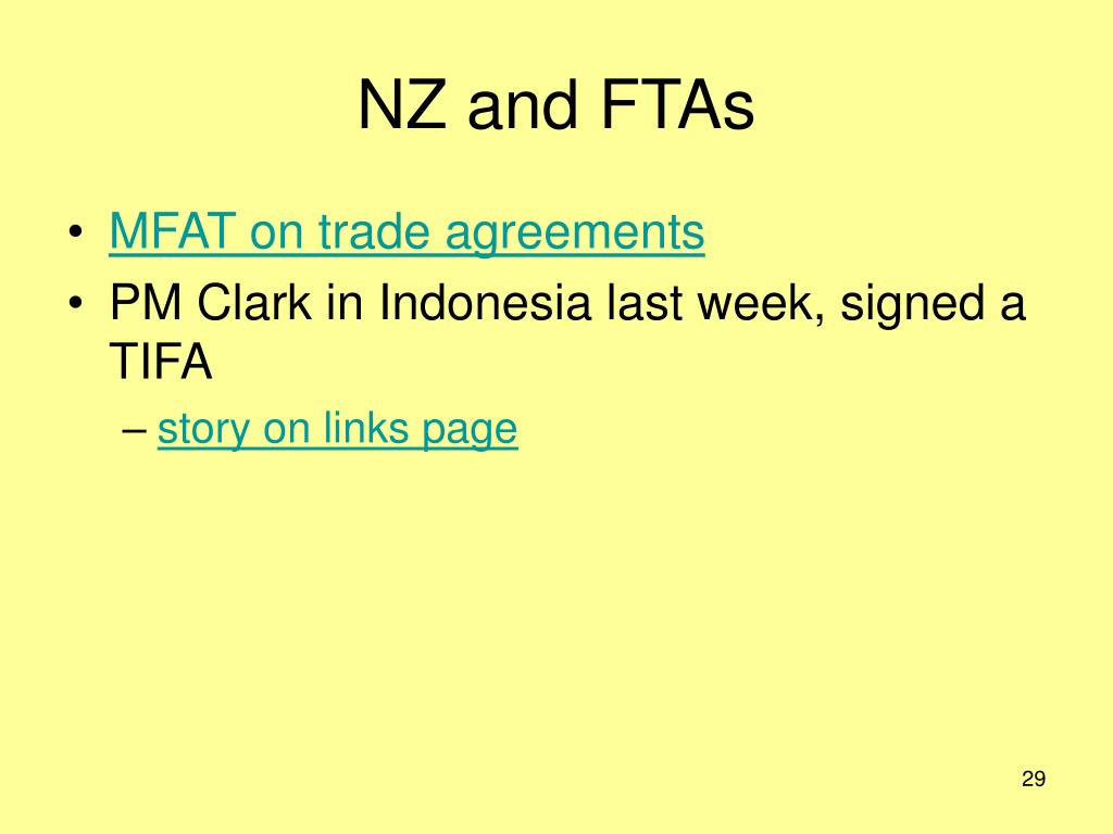NZ and FTAs