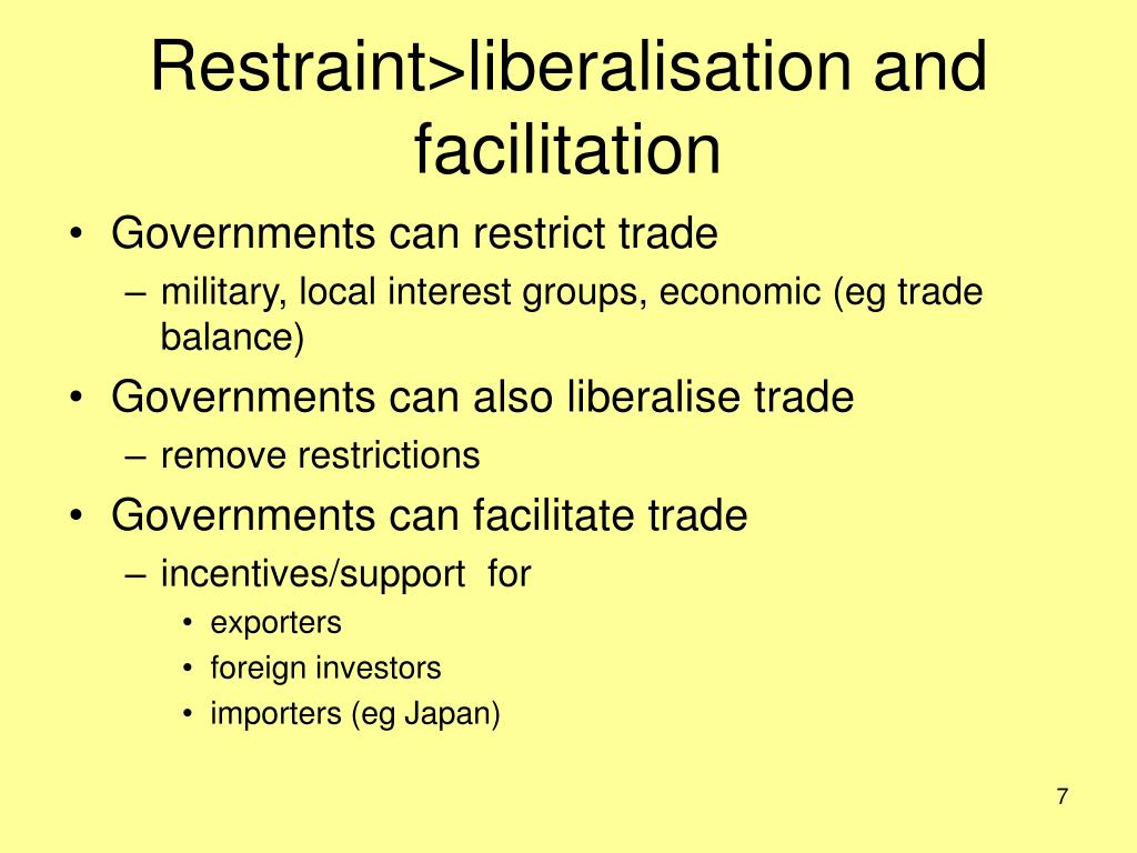 Restraint>liberalisation and facilitation