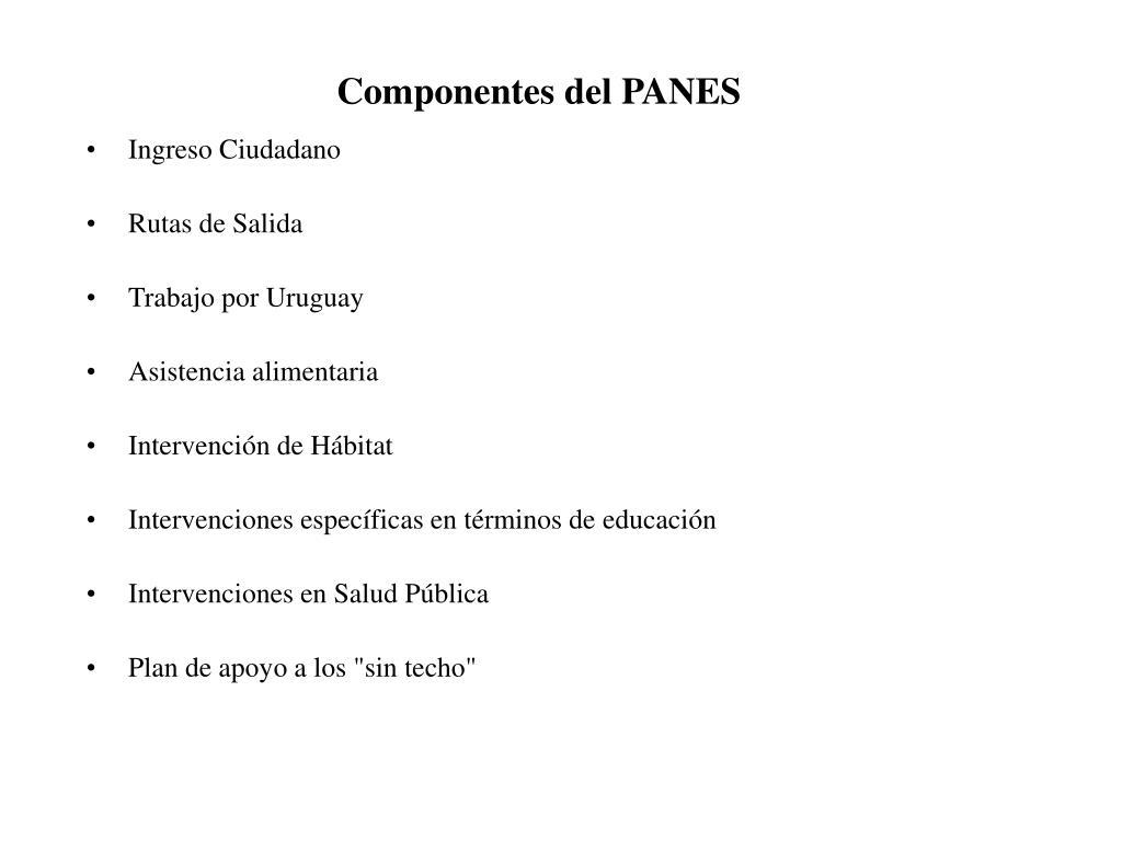 Componentes del PANES