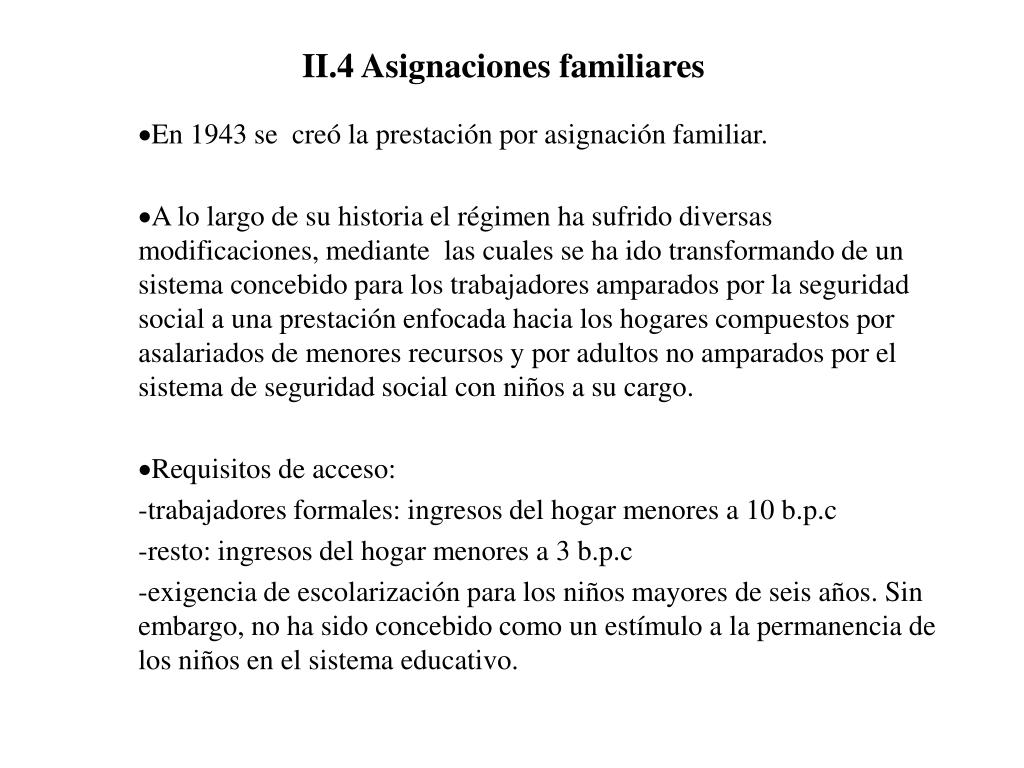 II.4 Asignaciones familiares