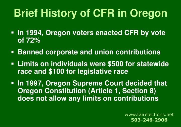 Brief history of cfr in oregon