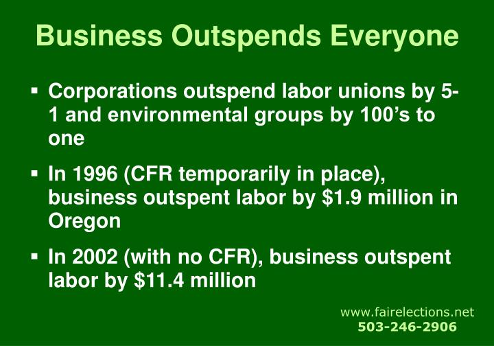 Business Outspends Everyone