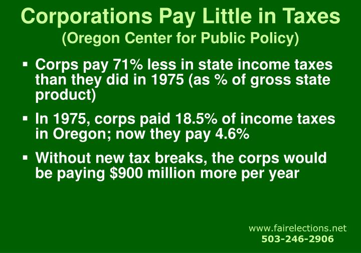 Corporations Pay Little in Taxes