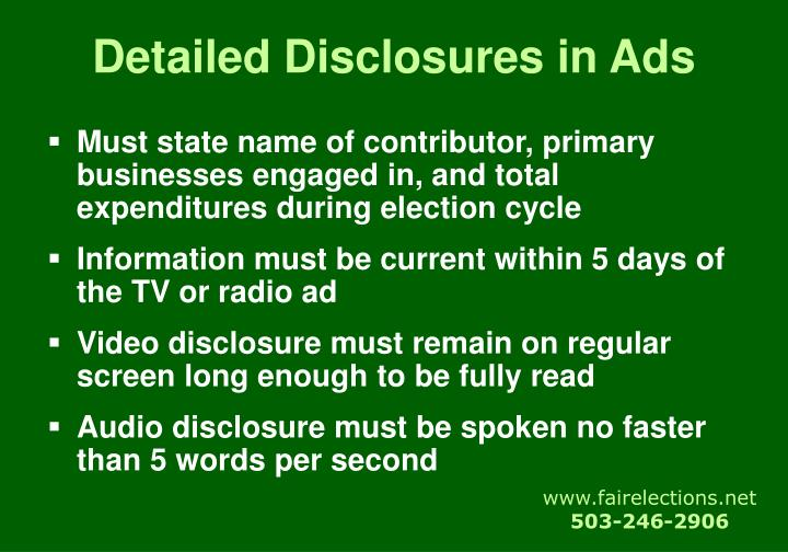 Detailed Disclosures in Ads