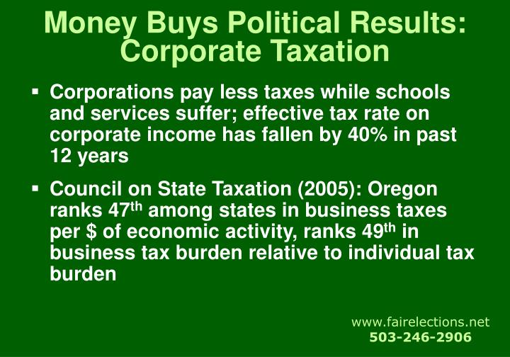 Money Buys Political Results:  Corporate Taxation