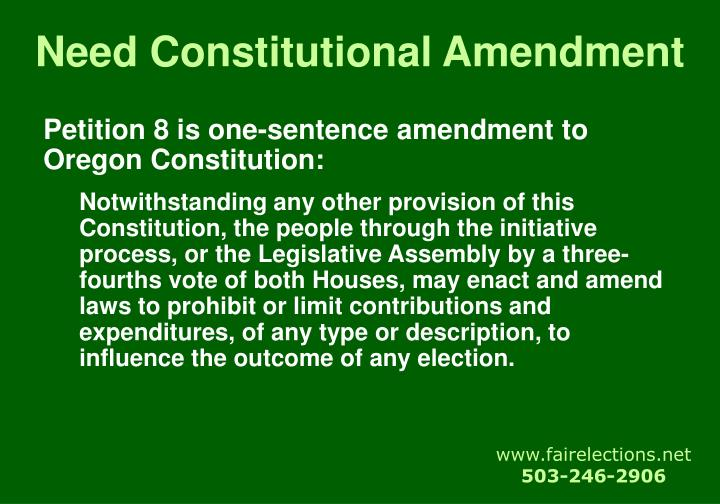 Need Constitutional Amendment
