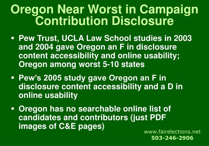 Oregon Near Worst in Campaign Contribution Disclosure