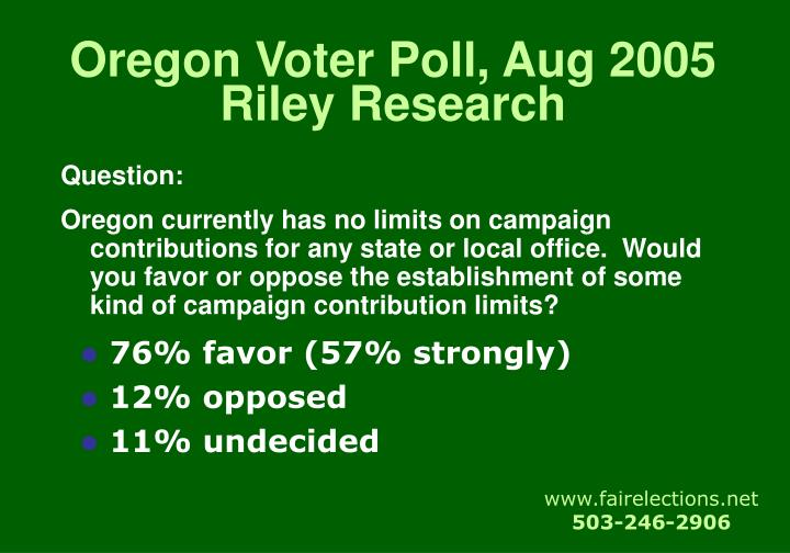 Oregon Voter Poll, Aug 2005