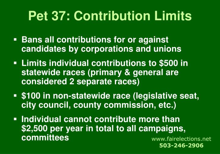 Pet 37: Contribution Limits