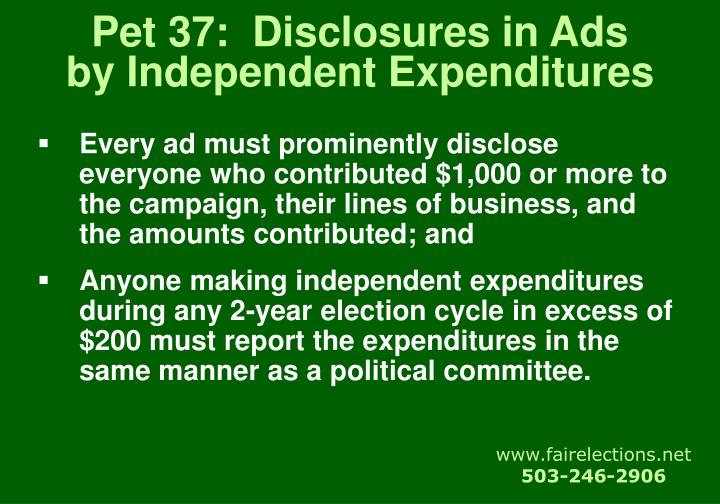 Pet 37:  Disclosures in Ads