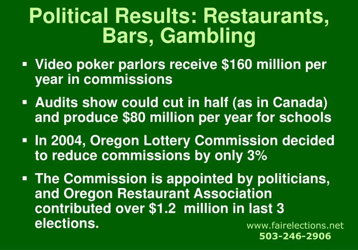 Political Results: Restaurants, Bars, Gambling