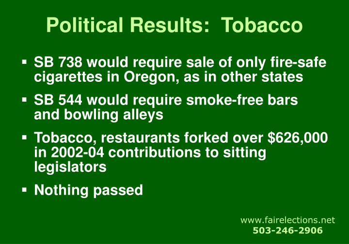 Political Results:  Tobacco