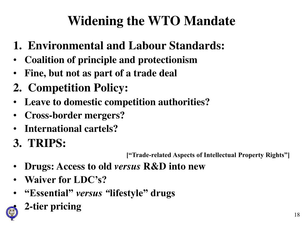 Widening the WTO Mandate