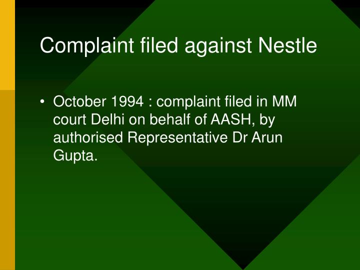 Complaint filed against Nestle