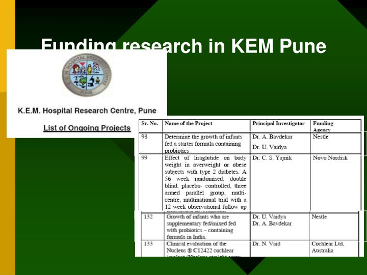 Funding research in KEM Pune