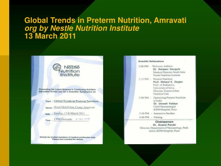 Global Trends in Preterm Nutrition, Amravati